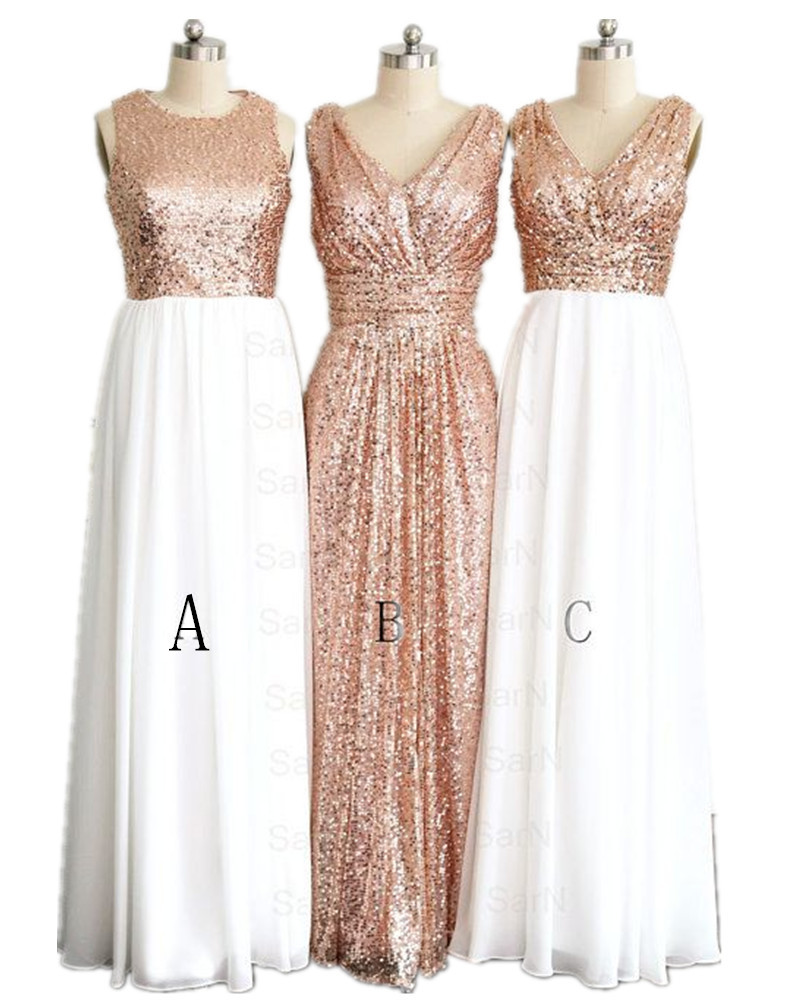 Hot Sale 3 Styles Rose Gold Bridesmaid Dresses Plus Size